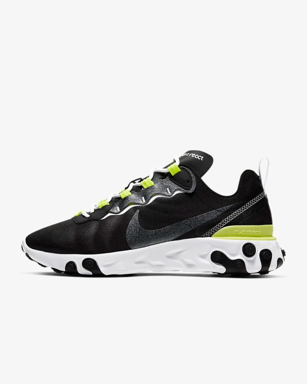 Women's Nike React Element 55 SE 'Black / Lemon Venom' .97 Free Shipping