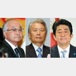 右から、安倍首相、榊原経団連会長、古賀連合会長/(C)日刊ゲンダイ