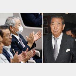 逃げの一手の石原慎太郎(右)と本会議にマスク姿で現れたドン/(C)日刊ゲンダイ