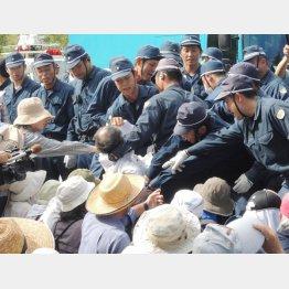 住民を強制排除する警察(沖縄・高江)(C)日刊ゲンダイ