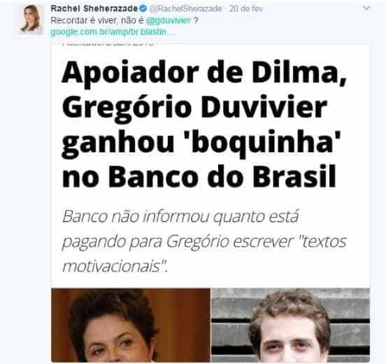 Rachel Sheherazade e Gregório Duvivier trocam farpas no Twitter