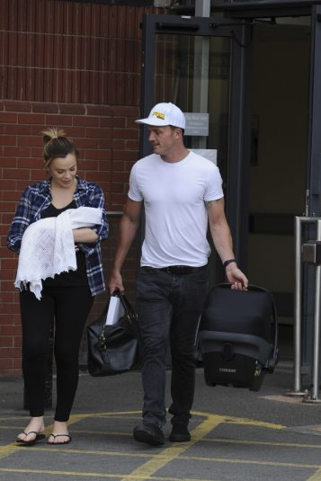 Maria Fowler & Kelvin Batey leave Royal Derby hospital after she gives birth to a baby girl.