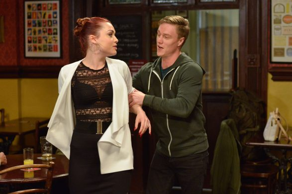 WARNING: Embargoed for publication until 00:00:01 on 14/11/2017 - Programme Name: EastEnders - October-December 2017 - TX: 20/11/2017 - Episode: EastEnders - October-December 2017 - 5601 (No. 5601) - Picture Shows: *STRICTLY NOT FOR PUBLICATION UNTIL 00:01HRS TUESDAY 14th NOVEMBER 2017*  Woody is getting wound up by Moose Whitney Carter (SHONA MCGARTY), Moose (SAM GITTINS) - (C) BBC - Photographer: Kieron McCarron