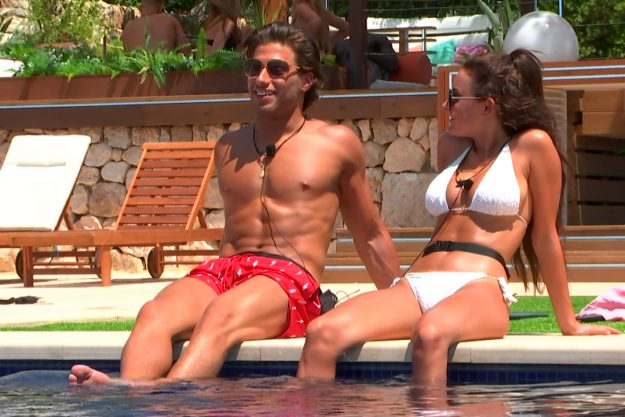 Amber Davies And Kem Cetinay Talking By The Pool On Love Island