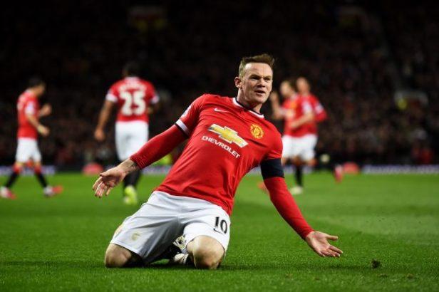 Wayne Rooney of Manchester United celebrates after scoring a goal