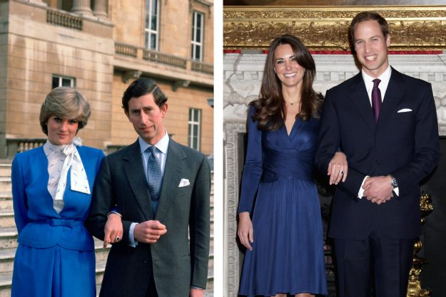 FILE PHOTO) In this photo composite image a comparison has been made between the engagement announcements of Prince Charles, Prince of Wales and Lady Diana Spencer and Prince William to Catherine Middleton.(Left Image) LONDON, UNITED KINGDOM - FEBRUARY 24: Prince Charles Arm-in-arm With His Fiance, Lady Diana Spencer, On The Steps Of Buckingham Palace For A Photocall On The Day They Announced Their Engagement. (Photo by Tim Graham/Getty Images) (Right Image) LONDON, ENGLAND - NOVEMBER 16: Pri
