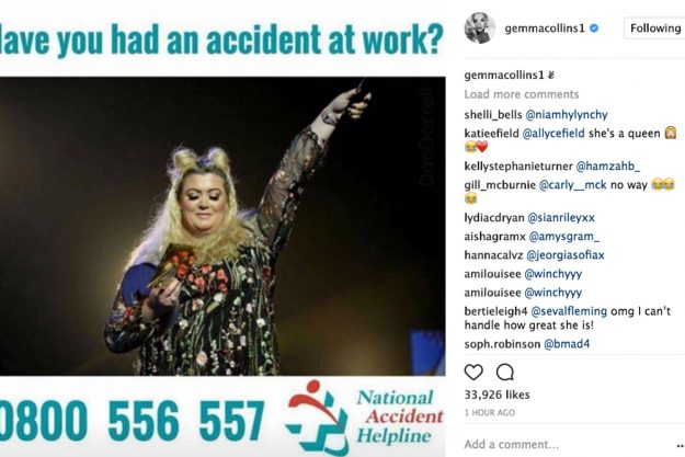 Gemma posted this image of herself from on stage at The Teen Awards, embedding it within an advert for accident claims