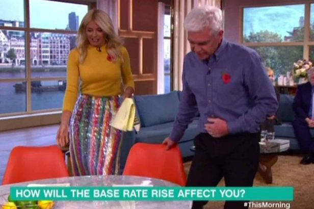 Holly Willoughby wears rainbow sequin skirt
