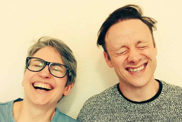 Susan Calman wife and Kevin Clifton laughing