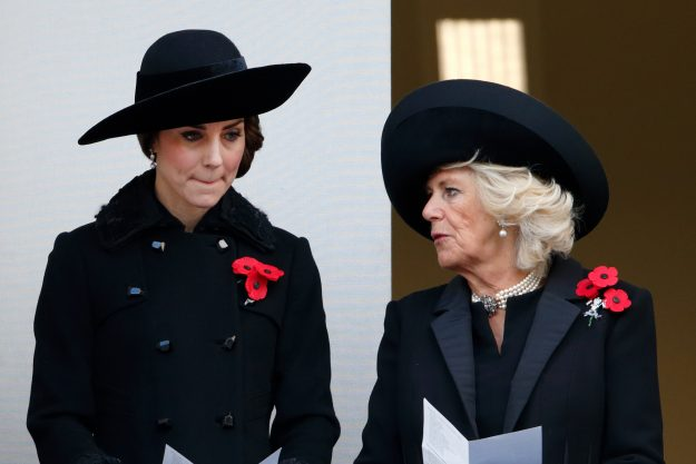 LONDON, UNITED KINGDOM - NOVEMBER 13: (EMBARGOED FOR PUBLICATION IN UK NEWSPAPERS UNTIL 48 HOURS AFTER CREATE DATE AND TIME) Catherine, Duchess of Cambridge and Camilla, Duchess of Cornwall attend the annual Remembrance Sunday Service at the Cenotaph on Whitehall on November 13, 2016 in London, England. The Queen, senior politicians, including the British Prime Minister and representatives from the armed forces pay tribute to those who have suffered or died at war. (Photo by Max Mumby/Indigo/Get