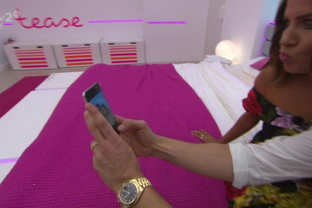 Caroline and Russell take a selfie on Chris Hughes phone on Love Island: After Sun. Broadcast on ITV2 Featuring: Caroline Flack, Russell Kane When: 23 Jul 2017 Credit: Supplied by WENN **WENN does not claim any ownership including but not limited to Copyright, License in attached material. Fees charged by WENN are for WENN's services only, do not, nor are they intended to, convey to the user any ownership of Copyright, License in material. By publishing this material you expressly agree to ind