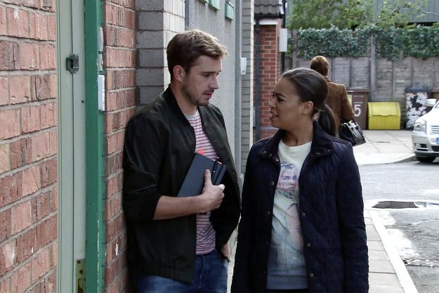 Andy Carver [OLIVER FARNWORTH] shares his latest story with Steph Britton [TISHA MERRY]