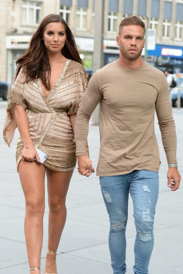 Love Island Couple Jessica Shears and Dominic Lever  spotted out for a meal in Manchester City Centre