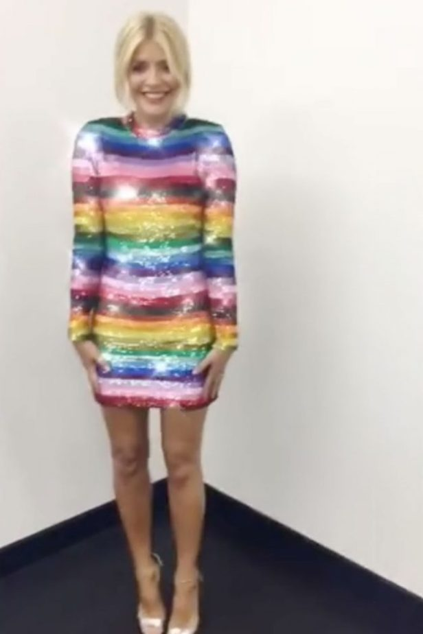 Holly Willoughby dress: This Morning presenter shows off her incredible figure in rainbow dress