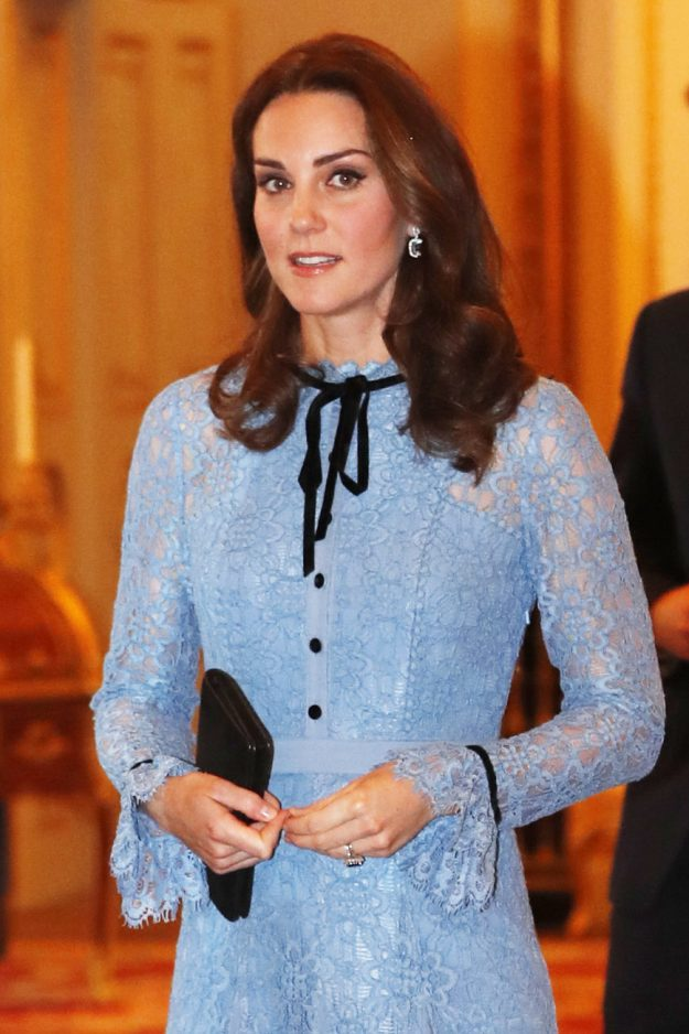 Pregnant Kate Middleton blue lacy Temperley London maternity dress