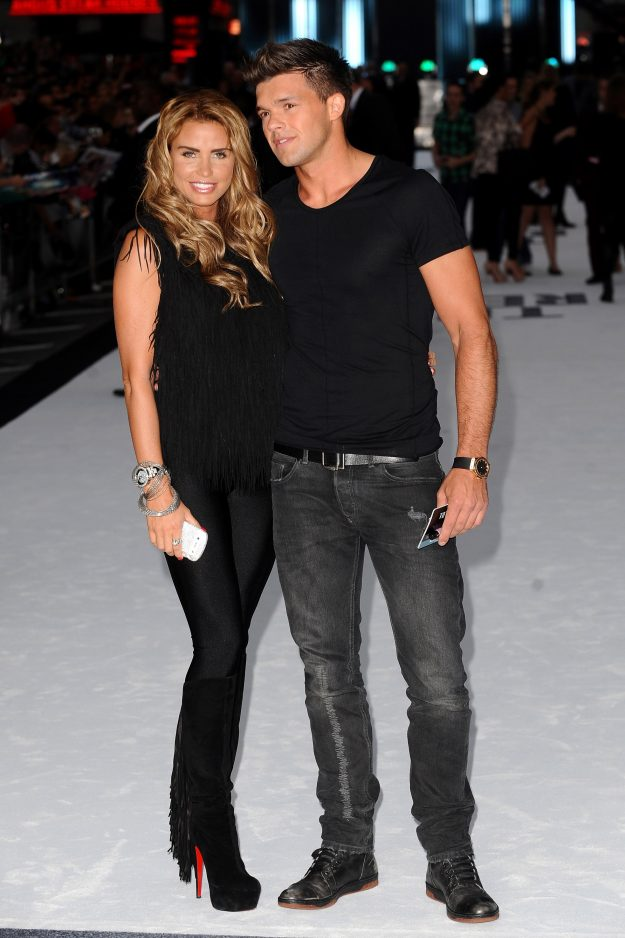 LONDON, ENGLAND - AUGUST 16: Katie Price and Leandro Penna attend the 'Total Recall' UK Film Premiere at Vue West End on August 16, 2012 in London, E