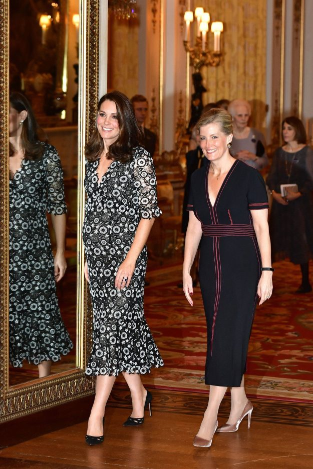 The Duchess of Cambridge and the Countess of Wessex host a reception to celebrate the Commonwealth Fashion Exchange at Buckingham Palace in London. PRESS ASSOCIATION Photo. Picture date: Monday February 19, 2018. Photo credit should read: Dominic Lipinski/PA Wire @@ROYAL Kate 190464.jpg