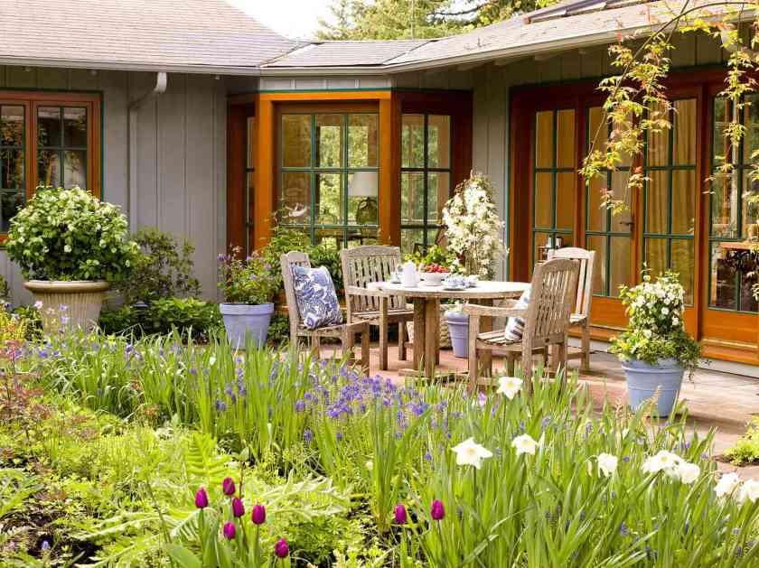 flower garden patio area outdoor table