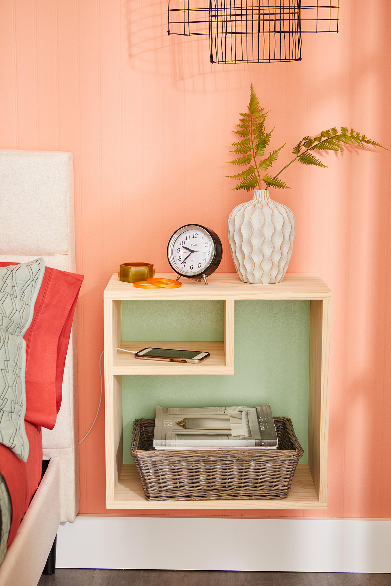 How To Build A Diy Wall Mounted Nightstand Better Homes
