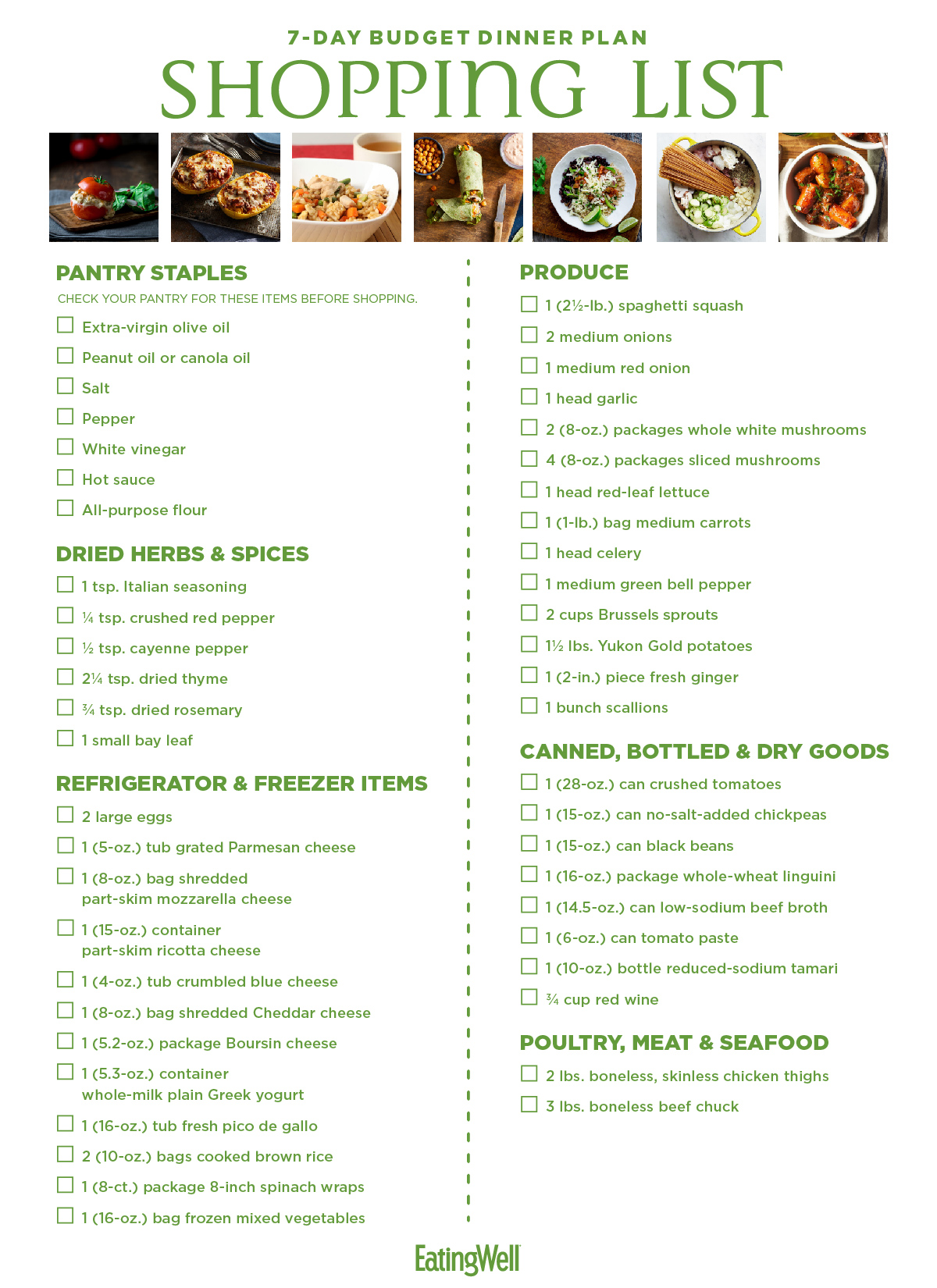 7 Day Budget Meal Plan Amp Shopping List