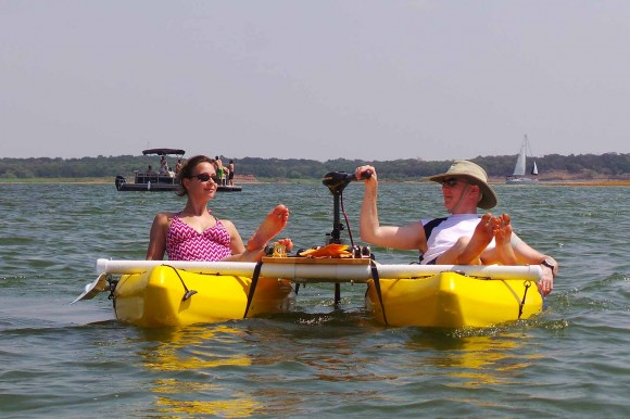 Cali and John lounging on the Catamaran Kayak (1)