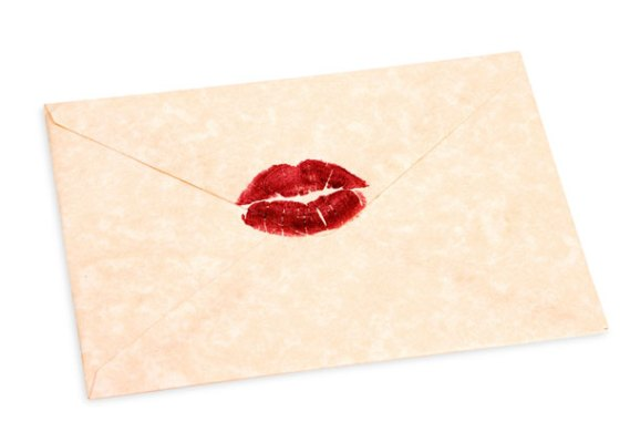 Love Quotes from Love Letters   Valentine s Day envelope sealed with a kiss