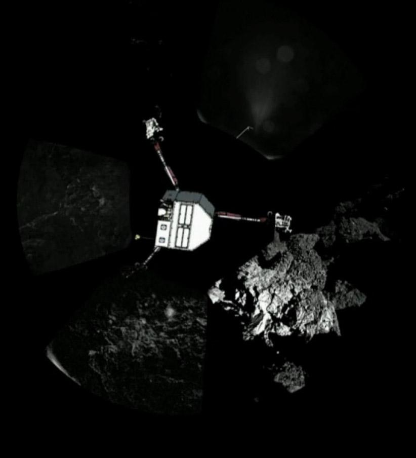 A Philae becsült helyzete, körülötte a CIVA kameráinak képei - látható, hogy az egyik láb az űr felé mutat.