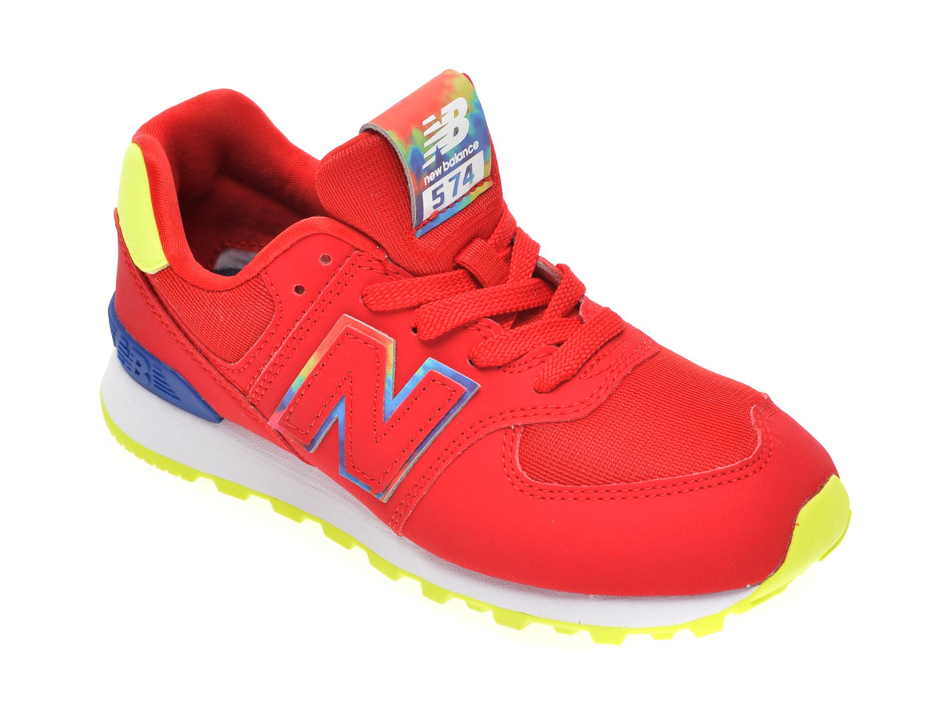 Pantofi sport NEW BALANCE rosii, PC574, din material textil si piele ecologica