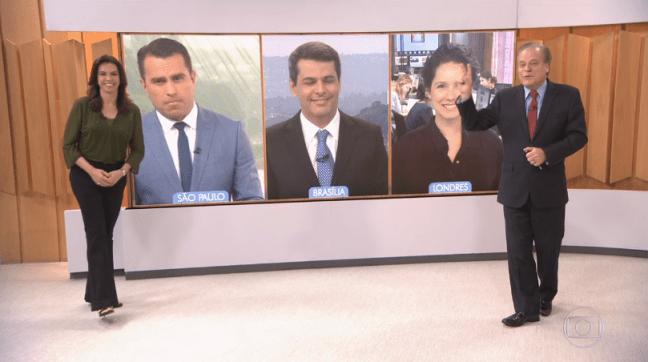 """Ana Paula Araújo e Chico Pinheiro no """"Bom Dia Brasil"""" da última sexta (10) (Foto: Reprodução/Globo)"""