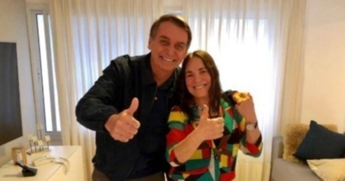 Regina Duarte e o político Jair Bolsonaro. (Foto: Reprodução)
