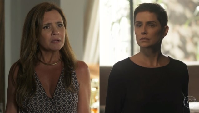 Laureta(Adriana Esteves) e Karola (Deborah Secco) em Segundo Sol (Foto: Reprodução/Globo)