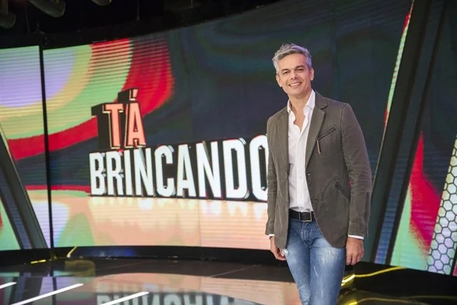 Otaviano Costa no palco do Tá Brincando (Foto: Globo/João Miguel Júnior)