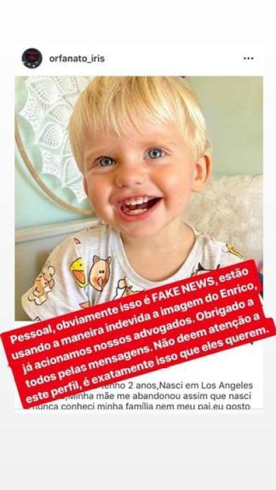 Enrico Bacchi em propaganda de orfanato (Foto: Reprodução)