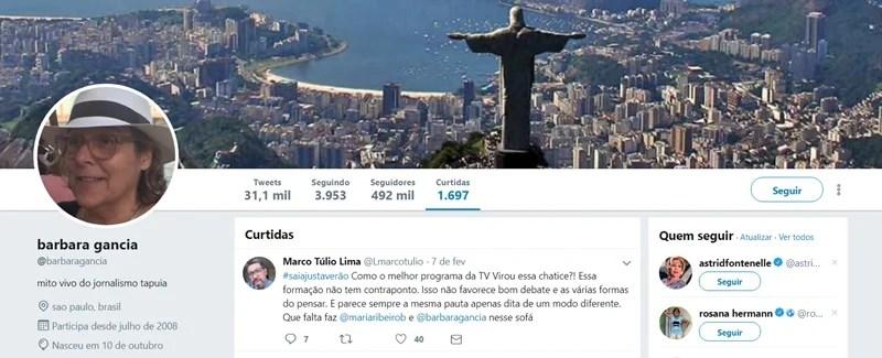 0189f6191d Bárbara Gancia curte comentário de internauta. (Foto  Reprodução Twitter)