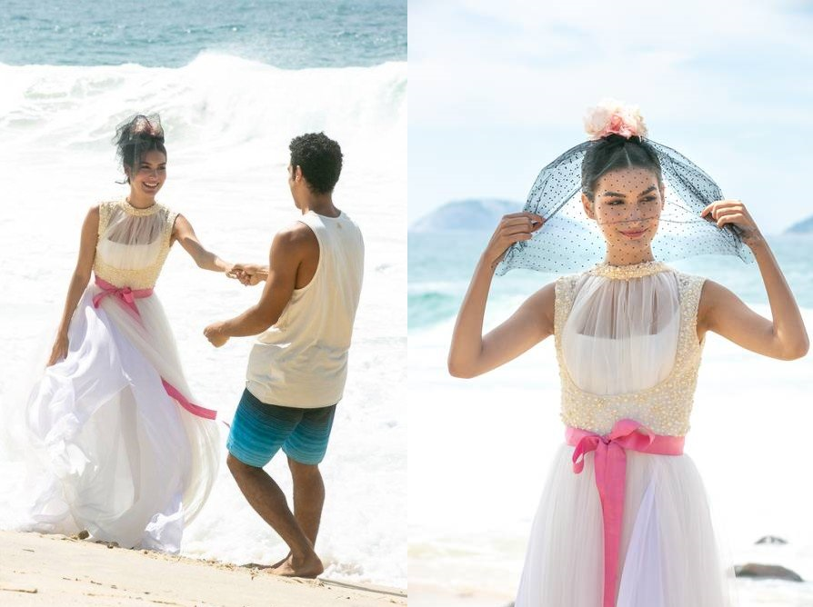 Vestida de noiva, Larissa vai para a praia com Diego comemorar juntos a nova fase de suas vidas, em Verão 90 (Foto: Isabella Pinheiro/ Globo/ Divulgação)