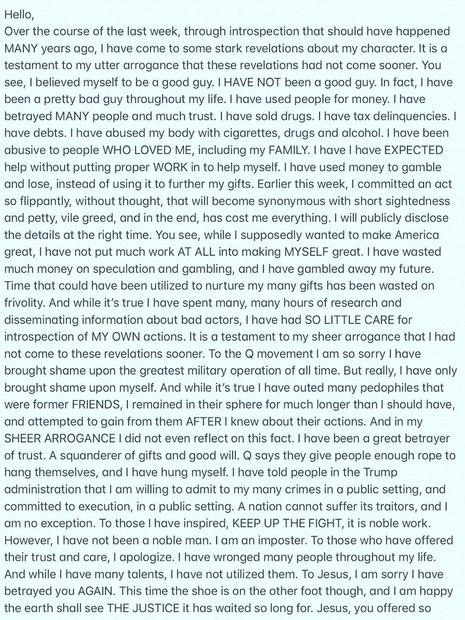 Carta de Isaac Kappy (Foto: Reprodução)