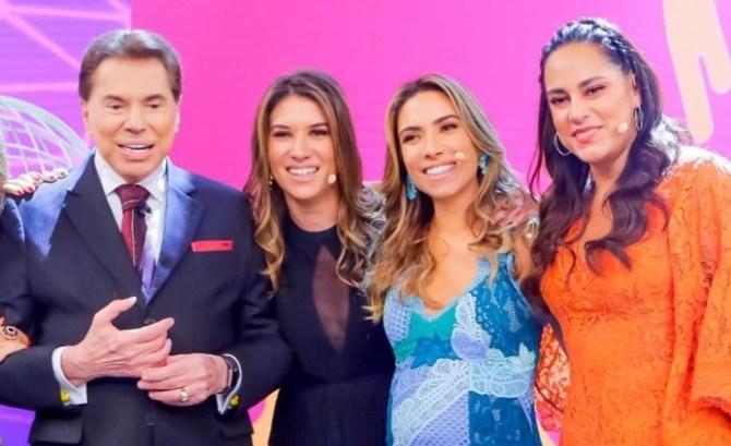 Silvio Santos, Rebeca Abravanel, Patrícia Abravanel e Silvia Abravanel (Foto: Divulgação SBT)