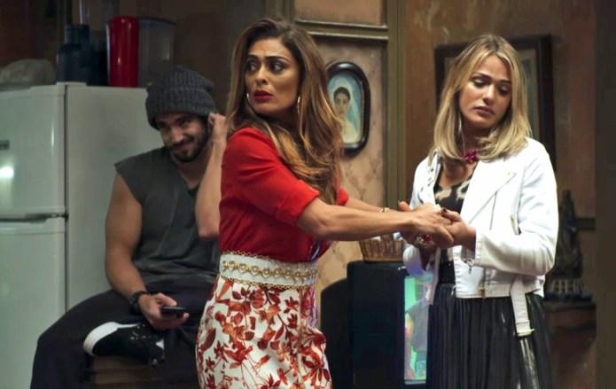Maria da Paz (Juliana Paes) sairá na frente para defender Britney (Glamour Garcia) na Globo, na novela das nove A Dona do Pedaço