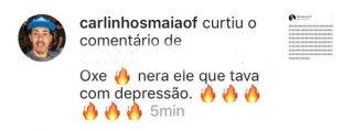Carlinhos Maia curtiu um comentário sobre Whindersson Nunes (Reprodução/Instagram)