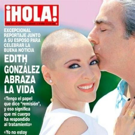 A atriz Edith Gonzalez posou sem peruca para a capa da revista ¡Hola (Foto: Reprodução)