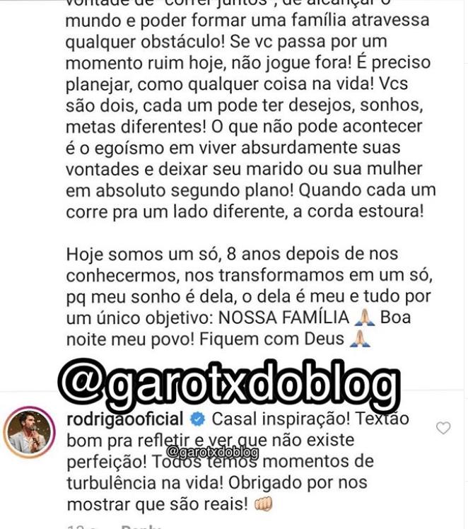 Rodrigão, ex participante do Big Brother Brasil, comenta a própria foto (Foto: Reprodução)