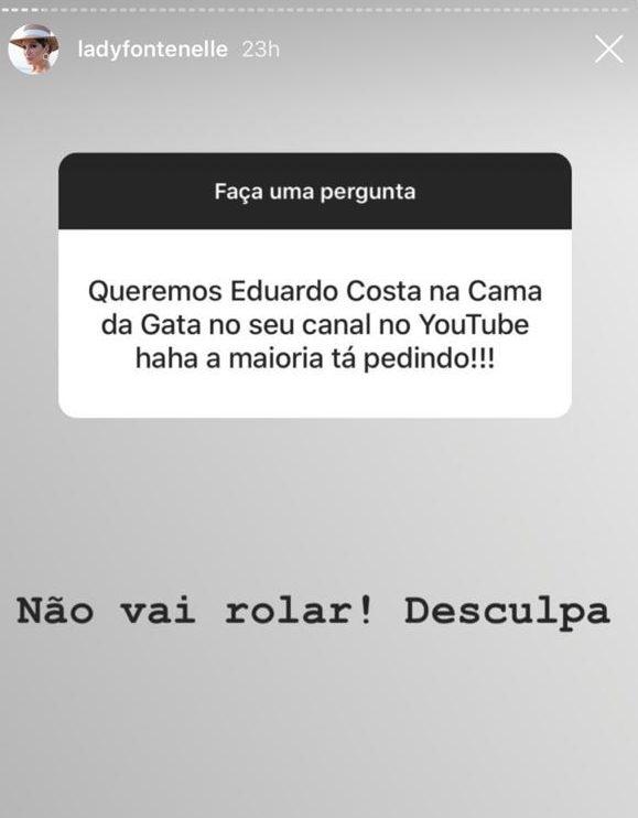 Fã de Anotnia Fontenelle fazendo pedido sobre Eduardo Costa