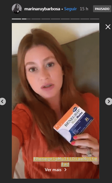 Marina Ruy Barbosa faz campanha publicitária para Benegripe Foto: Reprodução/Instagram