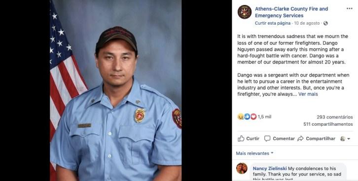 O post lamentando a morte do ator Dango Nguyen (Foto: Facebook)