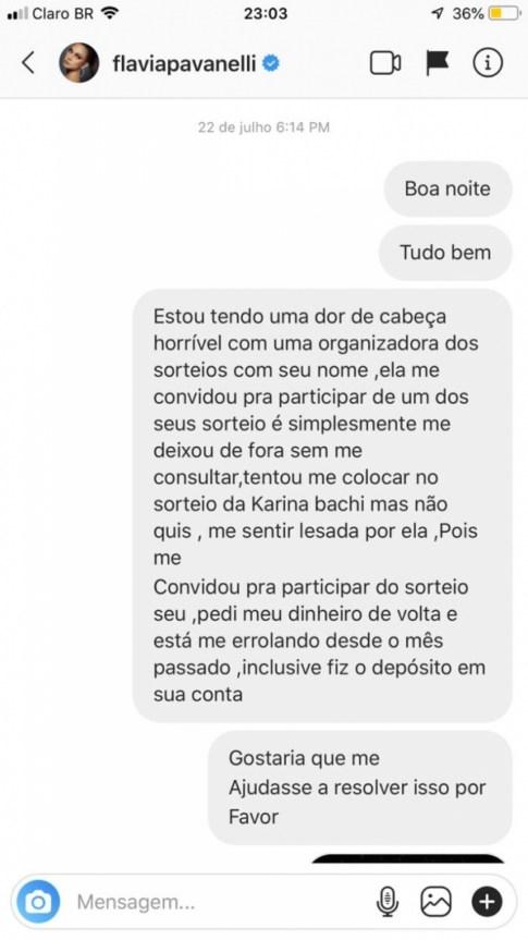 Empresária tentou contato com Flávia Pavanelli, mas não foi respondida (Reprodução)