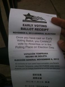 Early Voting Receipt