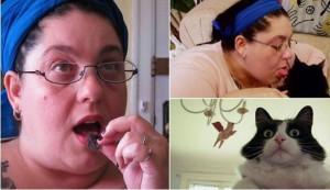 wanita makan bulu kucing