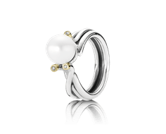 Silver ring 14k, pearl, 0,024ct diamond