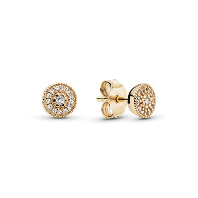 Radiant Elegance Stud Earrings 14K Gold Amp Clear CZ