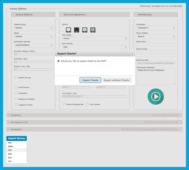 Export your Questionnaire to PDF, JSON, CSV, XML, XLS from the plugin